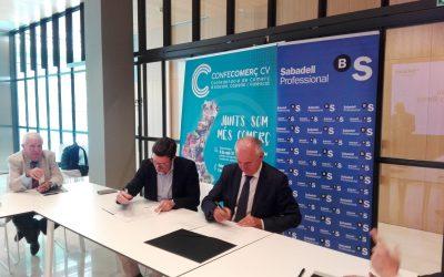CONFECOMERÇ CV firma un convenio de colaboración con Banc Sabadell para potenciar el sector del comercio minorista en la comunitat